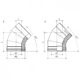 Колено сэндвич 45° для дымохода К, ЖС 0,5мм/ЖС 0,5мм D115/200
