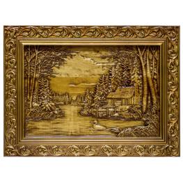 """Картина резная """"Озеро в лесу"""""""